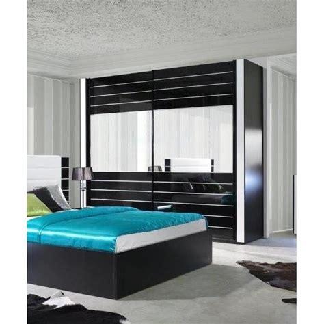meuble chambre design armoire lina noir et blanche laquée tout équipée meuble