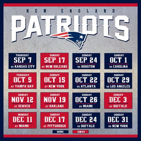 england patriots schedule print