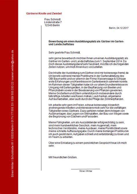 Garten Landschaftsbau Ausbildung Bewerbung by Bewerbung Ausbildung Gartner Garten Und Landschaftsbau Muster
