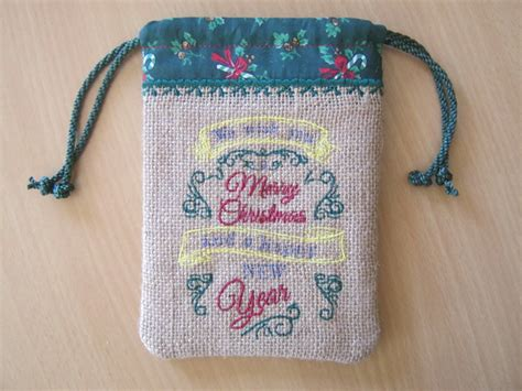 ith christmas burlap gift bags embroidery weekly