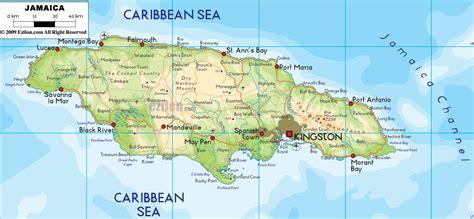 physical map  jamaica ezilon maps