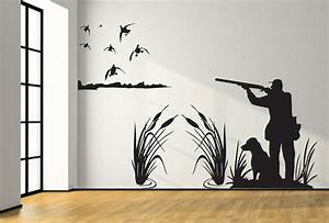 mallard duck hunting wall decal 8ft large hunter and dog duck With hunting wall decals