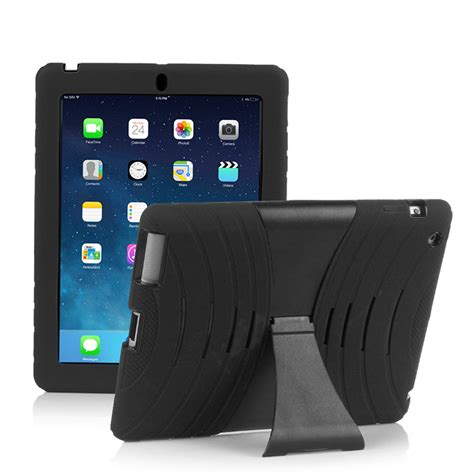 Rugged Silicone Kickstand Dual Layer Case Cover For Ipad