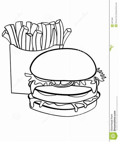 Burger Fries Double Chips Decked Coloring Pages