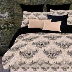 skull bedding for boys or girls twin full queen king comforter sets bed in a bag gothic tan black