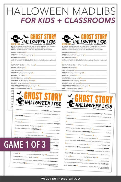 halloween school party games mad libs crosswords