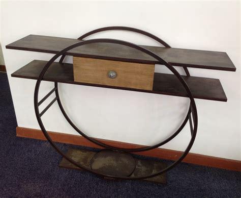 bureau chene console design en metal avec un tiroir bois massif