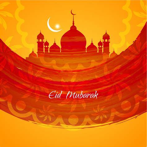 desertrosemosque eid mubarak design card vector