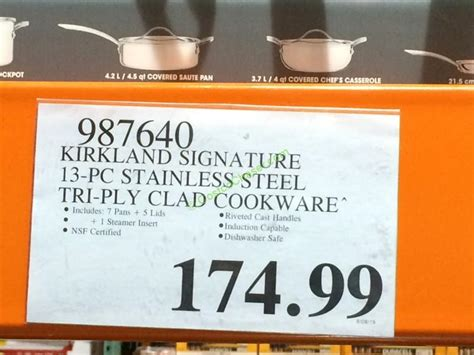 kirkland signature  pc stainless steel tri ply clad cookware costcochaser