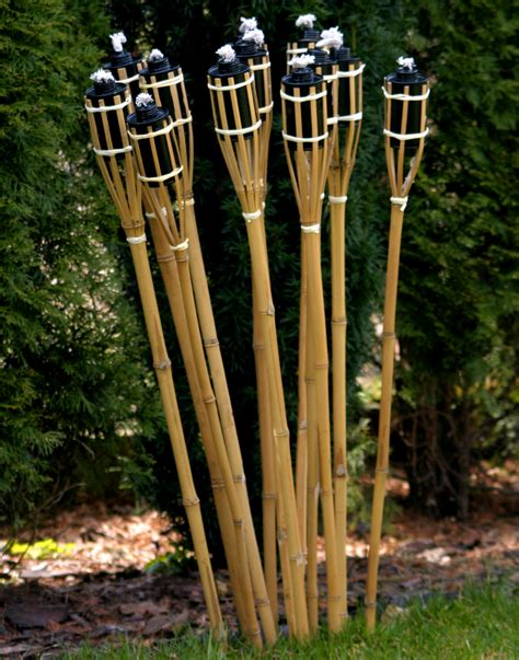 21 Stk Bambusfackeln Gartenfackel Bambus Garten Fackel
