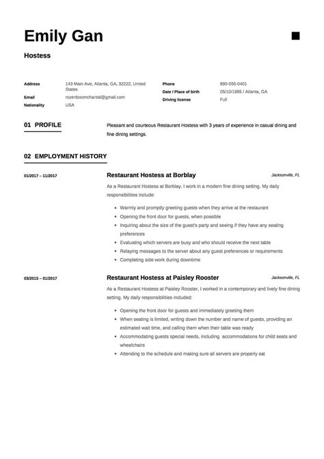 Hostess Resume by Restaurant Hostess Resume 12 Sles Pdf Documents
