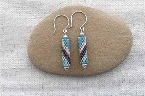 spiral peyote tube earrings pattern  tutorial