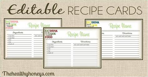 real food recipe cards diy editable  healthy honeys