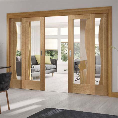Easi Slide OP1 Oak Emilia Sliding Door System with Clear