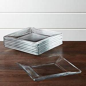 Tempo Square Glass Appetizer Plates Set Of 8 Crate And