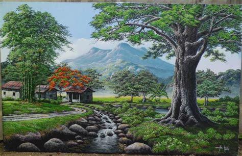 lukisan alam gunung koleksi gambar hd