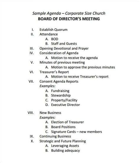 board agenda templates  sample templates agenda