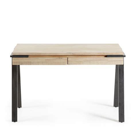 bureau bois et metal bureau design bois et m 233 tal 125x60 2 tiroirs spike by drawer