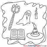 Coloring Halloween Pages Ghost Pitchfork Sheet Title sketch template