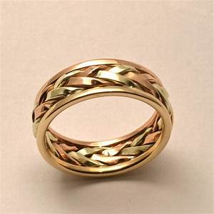 Braided in gold men39s large wedding band by for Wedding gold rings for men
