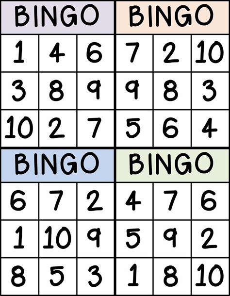 bingo for numbers 1 10 great for preschool number identification classroom stuff pinterest