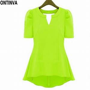 Summer Style Neon Yellow Green Casual Shirt Women Chiffon