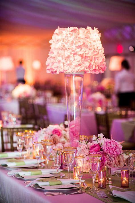 pink rose petal lamp shade centerpieces