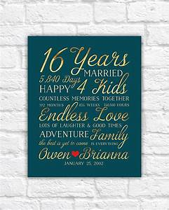 16th wedding anniversary gift married for 16 years gift for With 16th wedding anniversary gift