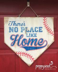 Baseball Home Plate Wooden Sign There's No Place Like Home