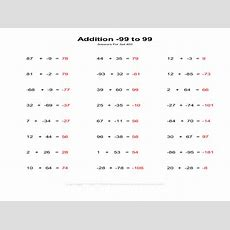 Adding Integers From 99 To 99 Worksheet For 8th Grade  Lesson Planet