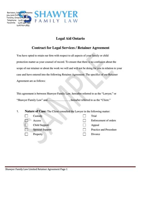 legal aid ontario contract  legal servicesretainer