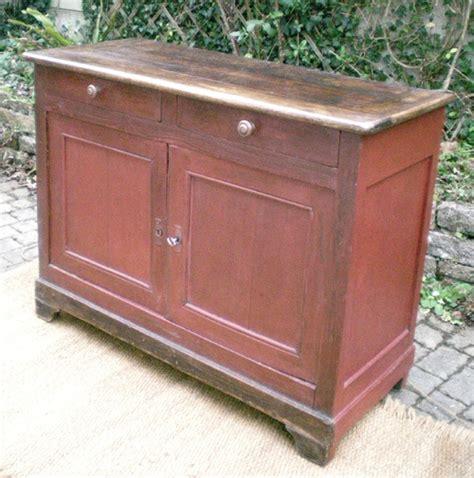 authentique meuble buffet bas ancien en bois peint