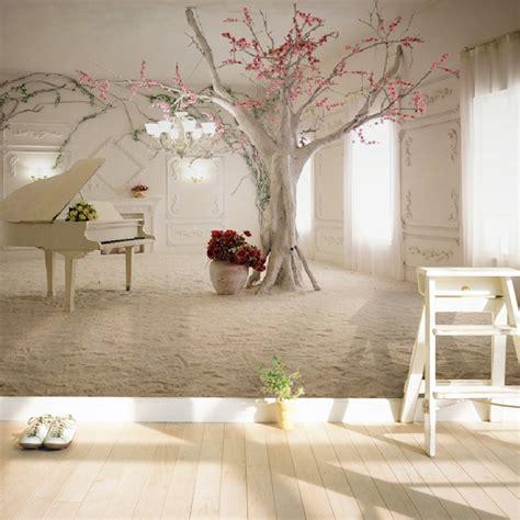 modern art piano tree branch photo wallpaper dining room