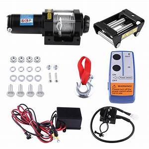 4000lb Electric Winch Wire Recovery Winch Cable Pull Kit 1 2kw 1 6hp 12v Dc Permanent Magnet