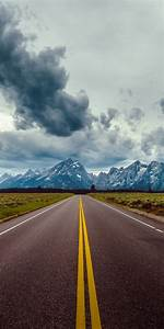 Road Field Horizon Mountains Clouds Sky - [720x1440]