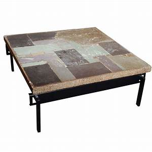 wonderful slate stone coffee table by paul kingma at 1stdibs With square slate coffee table