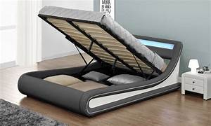 Lit Coffre 180x200 : jusqu 39 61 lit coffre led simili cuir groupon ~ Melissatoandfro.com Idées de Décoration