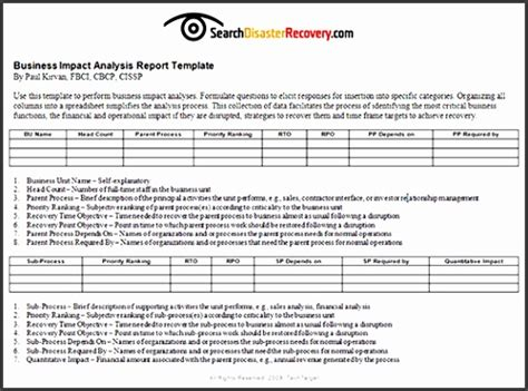 simple business impact analysis template