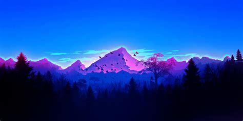 artwork landscape mountains forest