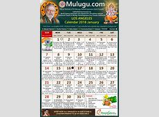 LosAngeles Telugu Calendar 2018 January Mulugu