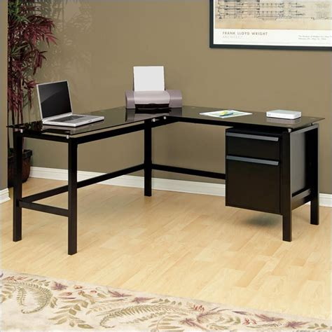 glass top l shaped desk studio rta gls top l shaped black computer desk