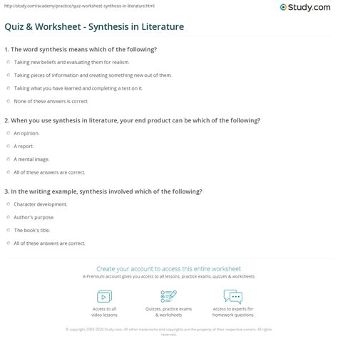 quiz worksheet synthesis  literature studycom