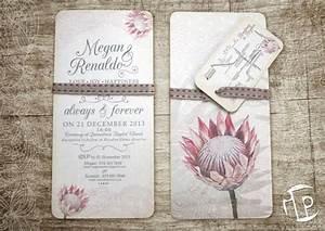 vintage wedding invitations designed for megan renaldo With wedding invitations with protea