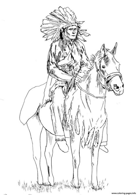 coloring pages print adult native american   horse