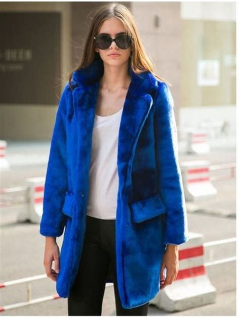 Royal Blue Long Line Faux Fur Coat