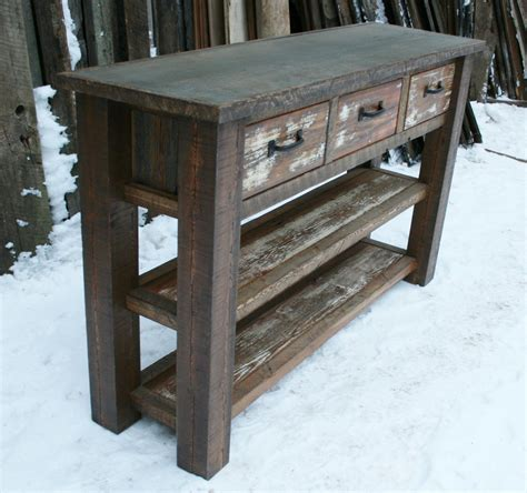 rustic wood entry table reclaimed rustic console entry table by echopeakdesign on etsy
