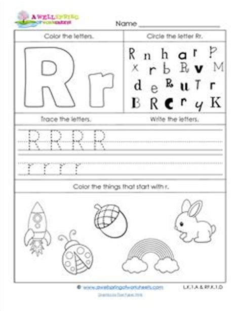 Abc Worksheets  Letter R  Alphabet Worksheets  A Wellspring