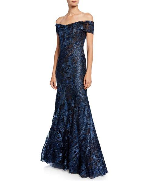 Rene Ruiz Metallic Lace Off-the-Shoulder Short-Sleeve ...
