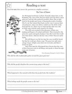 grade reading comprehension worksheets images