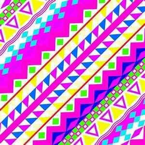 Acidic Neon | Neon Pink Teal Bright Girly Abstract Aztec ...